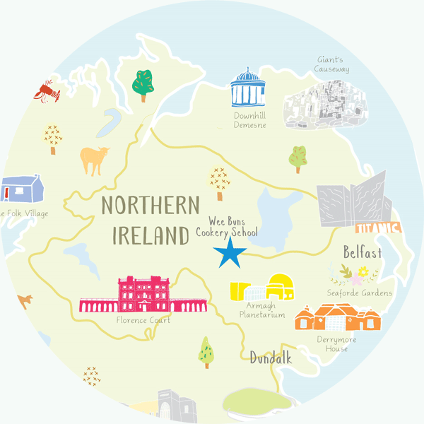 Wee Buns cookery school in Northern Island location illustration